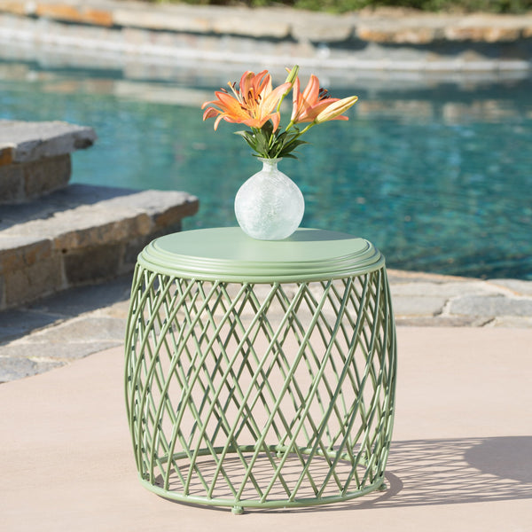 Aisha Outdoor 19 Inch Diameter Lattice Matte Iron Side Table