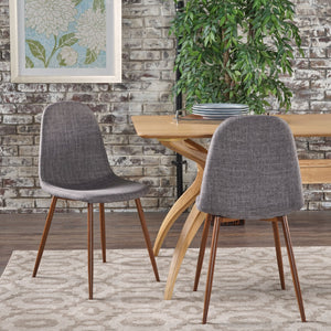 Rachel Mid Century Modern Fabric Dining Chairs With Wood Finished Metal Legs (Set Of 2)