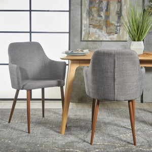 Zaria Mid Century Modern Fabric Dining Chair With Wood Finished Metal Legs (Set Of 2)