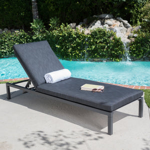 Nathaniel Outdoor Mesh Chaise Lounge With Aluminum Frame And Water Resistant Cushion
