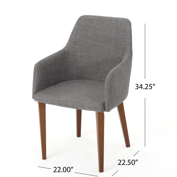 Alia Fabric Dining Chair With Metal Legs With Wood Finish (Set Of 2)