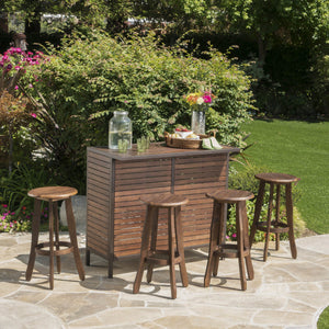 Pia Outdoor 5 Piece Finished Acacia Wood Bar Set
