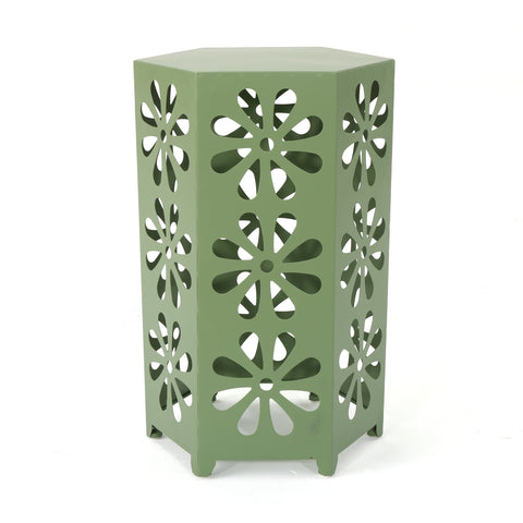 Damie Outdoor 14 Inch Matte Iron Floral Side Table
