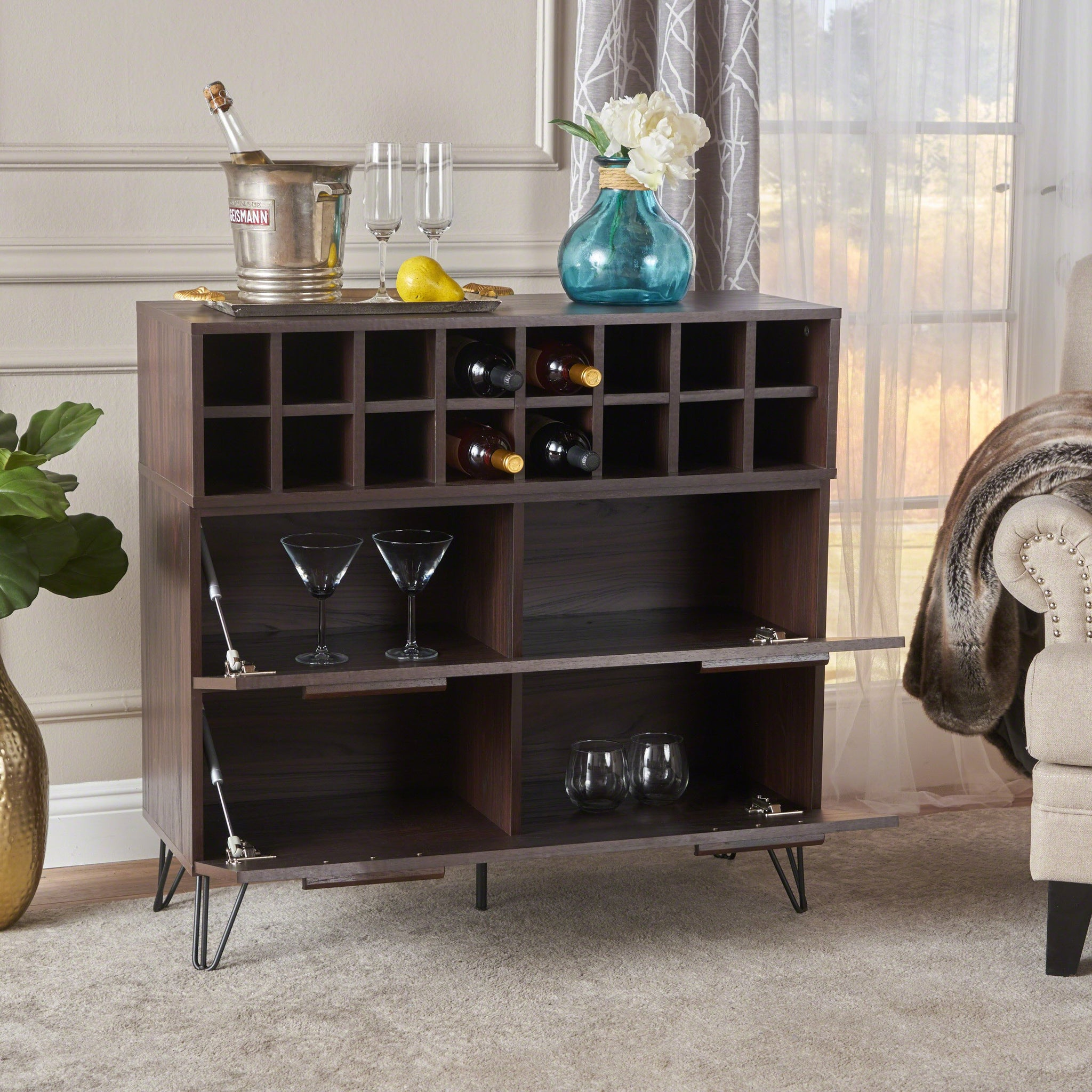 Amantani Mid Century Finish Faux Wood Wine And Bar Cabinet