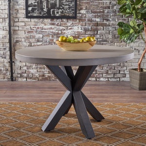 Tatiana Concrete Circular Dining Table With Iron Cross Pedestal Base