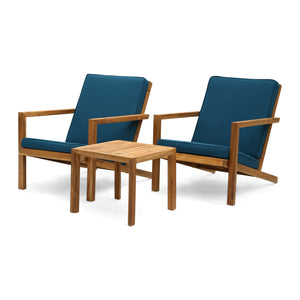 Layla Outdoor 3 Piece Acacia Wood Chat Set