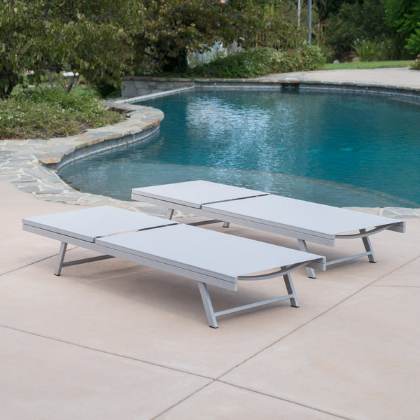 Salinas Outdoor Mesh Loungers With Aluminum Frame (Set Of 2)