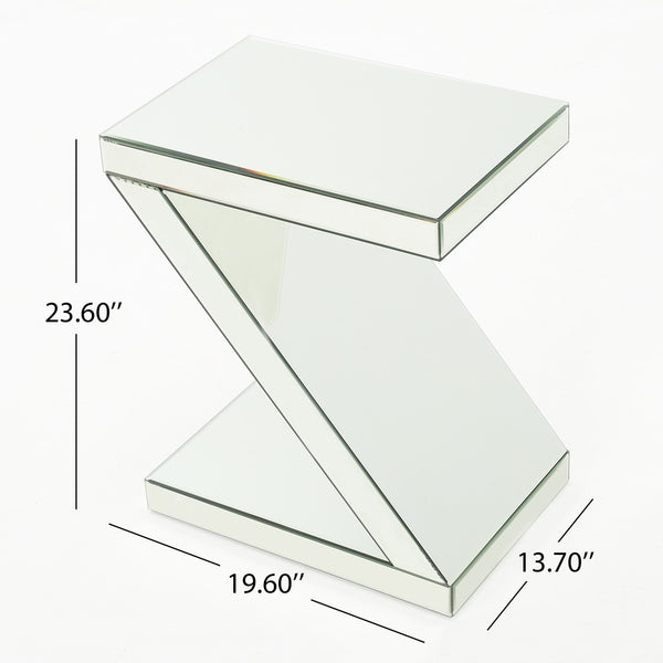 Atterbury Mirrored Z Shaped Side Table