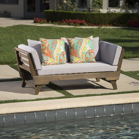 Ossanna Outdoor Finished Acacia Wood Daybed With Water Resistant Cushions