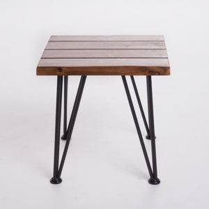 Zelfa Outdoor Industrial Rustic Finshed Iron And Teak Finished Acacia Wood Accent Table