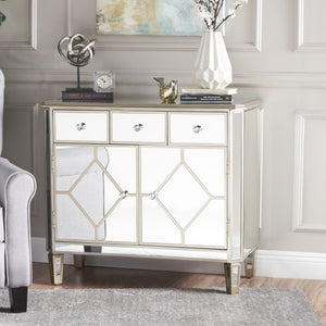 Tongass Finished Mirrored 5 Drawer Cabinet With Faux Wood Frame