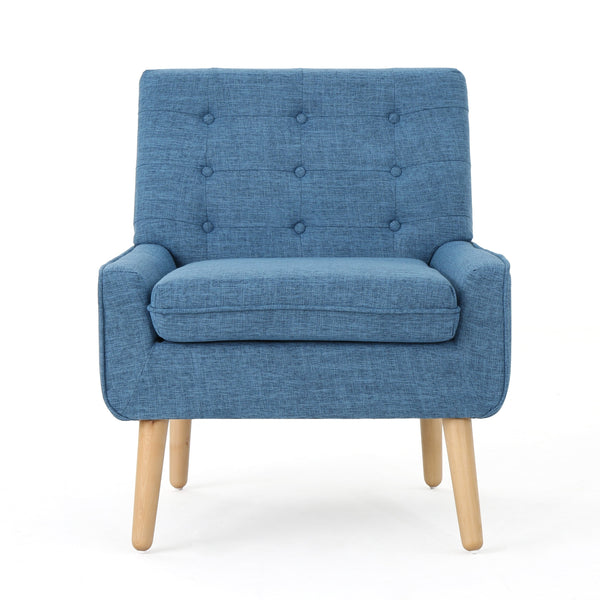 Edwards Buttoned Mid Century Modern Fabric Chair