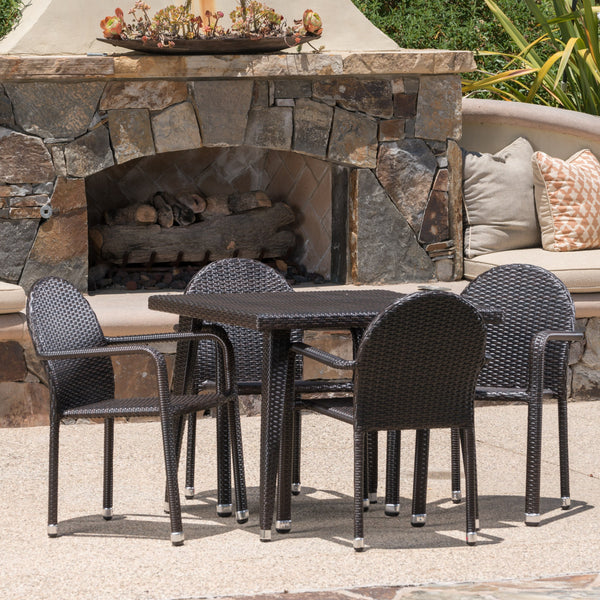 Ashland Outdoor Aluminum Framed Wicker 5 Piece Dining Set With Matching Square Dining Table