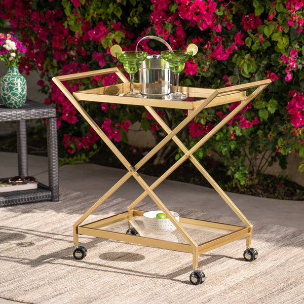 Anissa Outdoor Industrial Bar Cart With Tempered Glass Shelves | Color: Yellow, Color: Gold