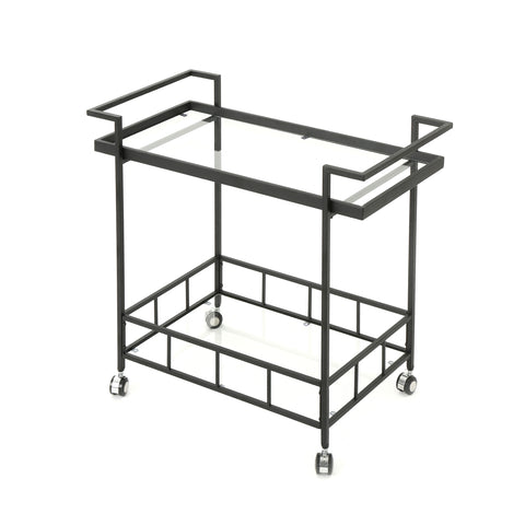 Amali Indoor Industrial Bar Cart | Color: Black, Color: Black