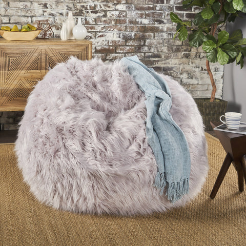5 Ft Long Faux Fur Beanbag