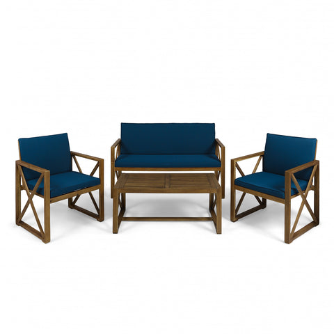 Anaya Outdoor Acacia Wood 4 Piece Chat Set With Cushions