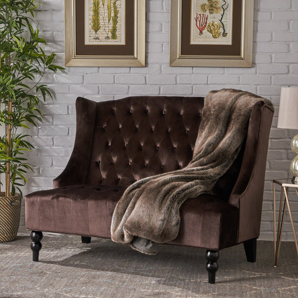Lenorr Traditional Tufted Winged Loveseat
