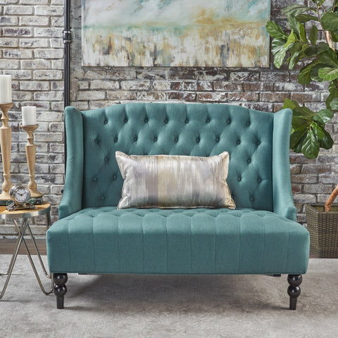 Lenorr Traditional Tufted Winged Fabric Loveseat