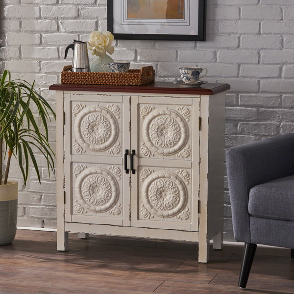Aladdin Distressed Finished Firwood Cabinet With Faux Wood Overlay And Top