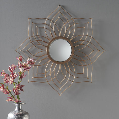 Nyx Floral Copper Finished Wall Mirror