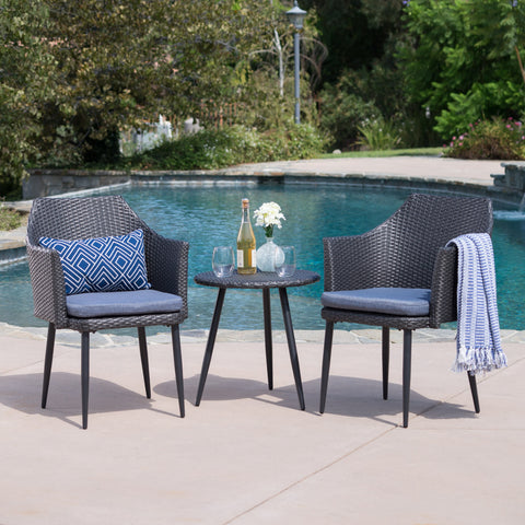 Indio Outdoor 3 Piece Mixed Wicker Chat Set With Metal Legs And Water Resistant Cushions