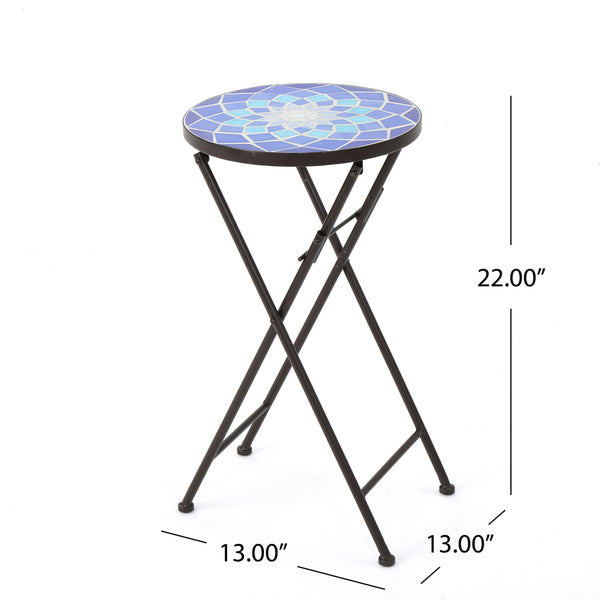 Azara Outdoor And Glass Side Table With Iron Frame