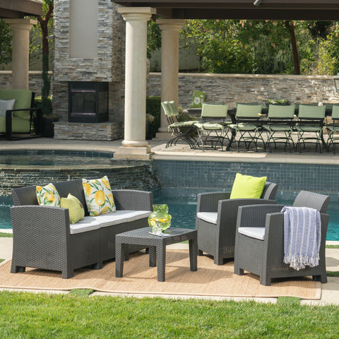 Jace Outdoor 4 Piece Faux Wicker Rattan Style Chat Set With Water Resistant Cushions