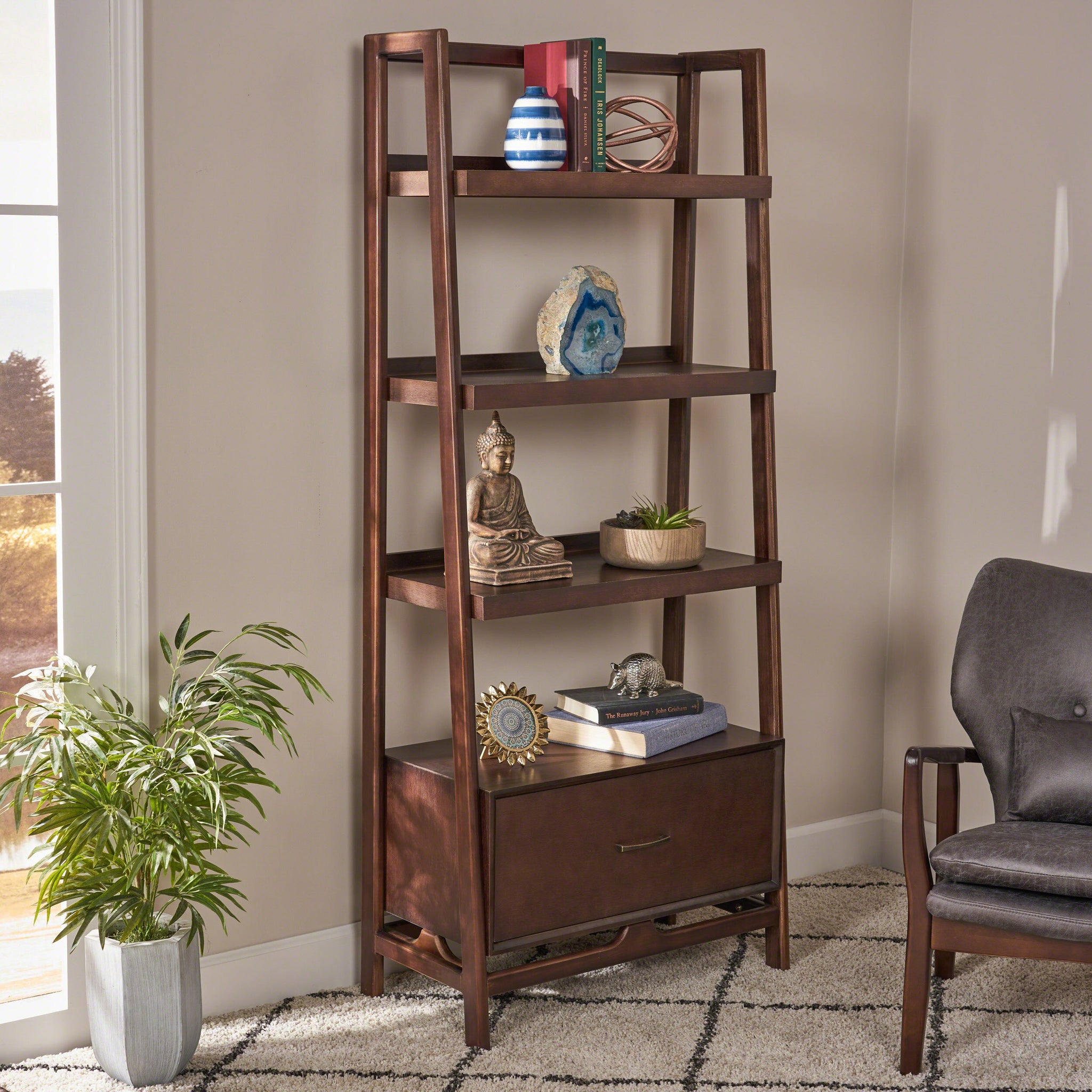 Brandi Midcentury Modern Faux Wood Shelf