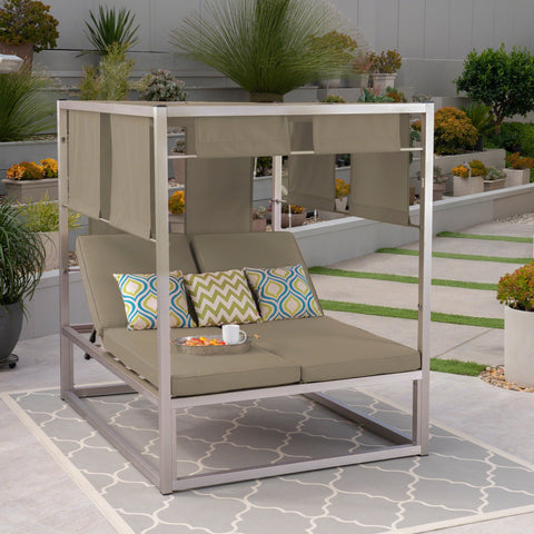 Helen Outdoor Aluminum Daybed With Canopy