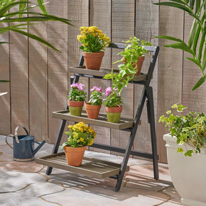 Melvin Outdoor Acacia Wood Planter Stands
