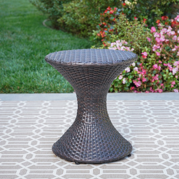 "Francisco Outdoor 16"" Wicker Hourglass Side Table"