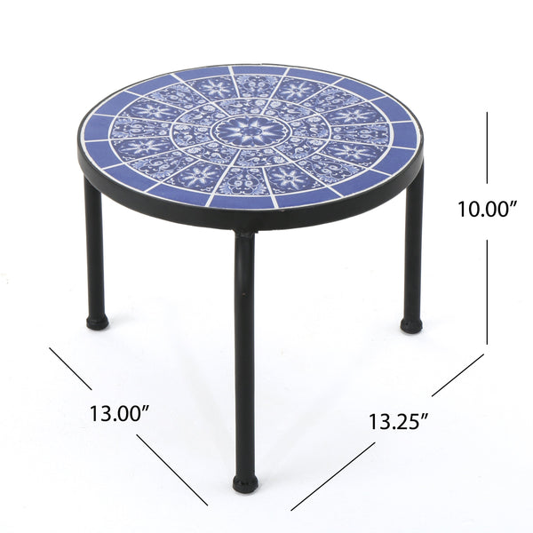Skye Outdoor And Ceramic Tile Side Table With Iron Frame