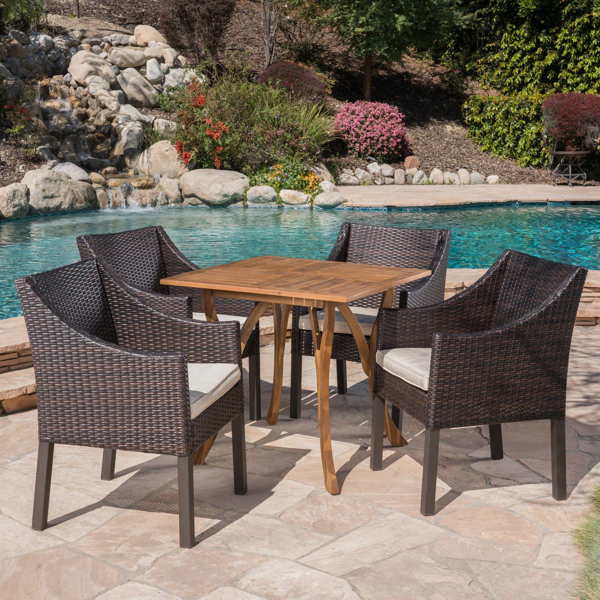 Paola Outdoor 5 Piece Acacia Wood/ Wicker Dining Set With Cushions