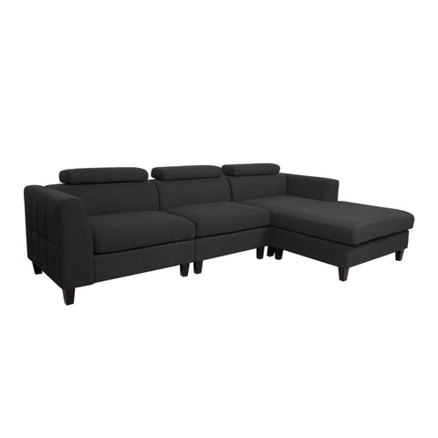 Ambrose Modern Fabric Deep Seated Chaise Sectional | Color: Gray, Seating: 3-Seater, 3-Seater: Color, Color: Dark Charcoal