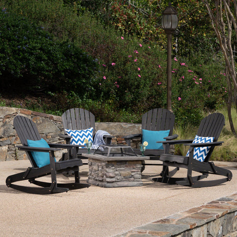 Marnie Outdoor 5 Piece Acacia Wood/ Concrete Adirondack Rocking Chair Set With Fire Pit