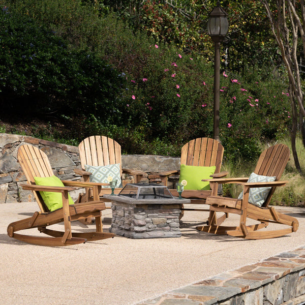Marvelous Marnie Outdoor 5 Piece Acacia Wood Concrete Adirondack Rocking Chair Set With Fire Pit Pdpeps Interior Chair Design Pdpepsorg