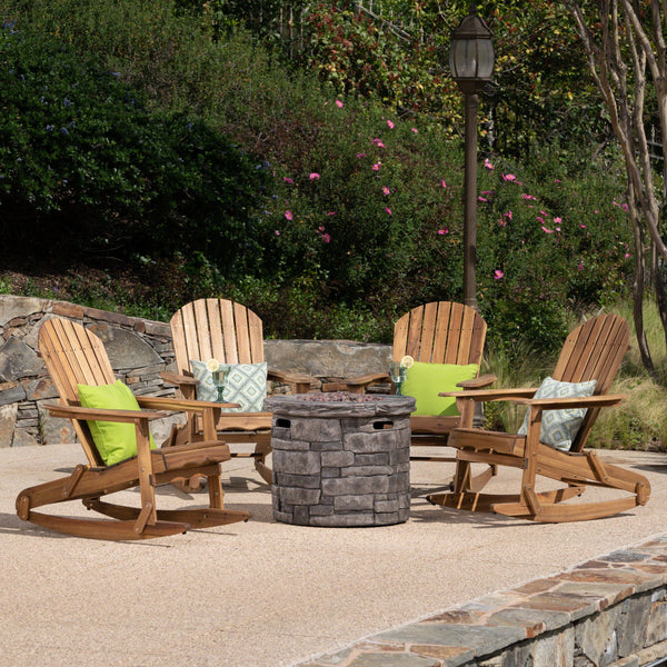 Magnus Outdoor 5 Piece Acacia Wood/ Concrete Adirondack Rocking Chair Set With Fire Pit