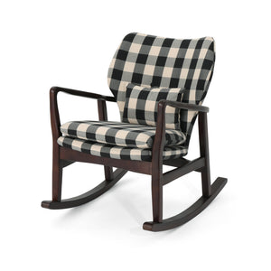 Ira Mid-Century Fabric Rocking Chair | Color: Black, Frame Finish: Dark Espresso, Dark Espresso: Cushion Color, Cushion Color: Black Checkerboard