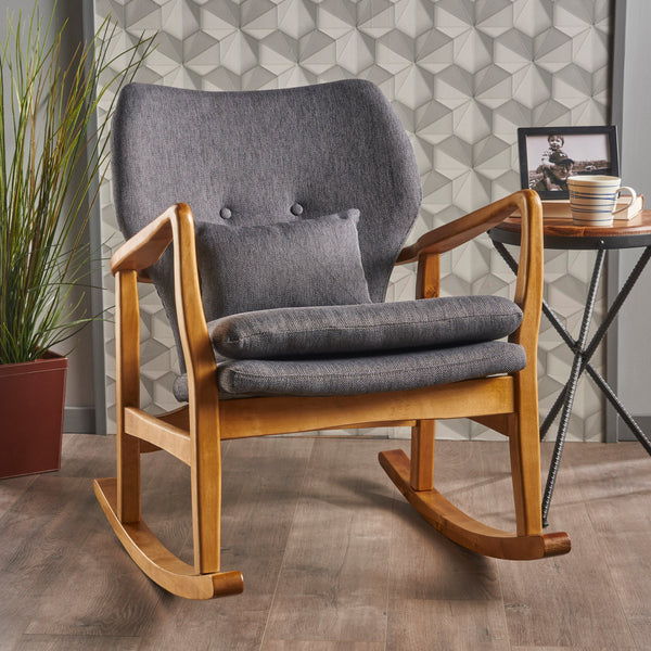 Ira Mid-Century Fabric Rocking Chair | Color: Gray, Frame Finish: Light Walnut, Light Walnut: Cushion Color, Cushion Color: Charcoal