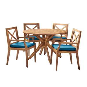 Livana Outdoor 5 Piece Acacia Wood Dining Set