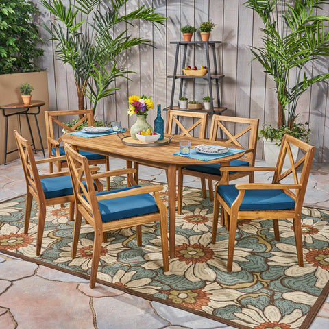 Pilar Outdoor 7 Piece Acacia Wood Dining Set