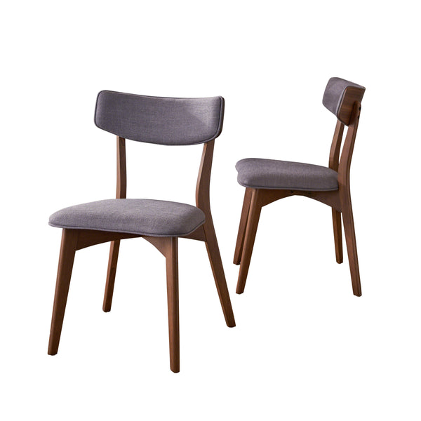 Abilene Mid Century Modern Fabric Dining Chairs (Set Of 2) | Color: Gray, Color: Dark Gray and Natural Walnut