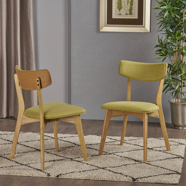 Abilene Mid Century Modern Fabric Dining Chairs (Set Of 2) | Color: Green, Color: Green Tea and Natural Oak