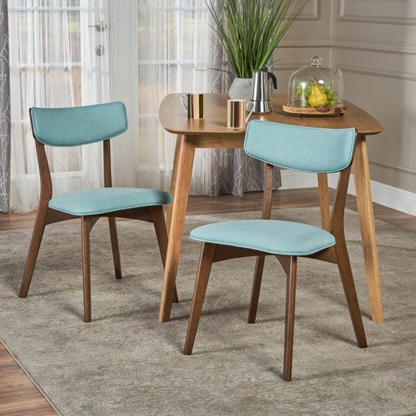 Abilene Mid Century Modern Fabric Dining Chairs (Set Of 2) | Color: Blue, Color: Mint and Natural Walnut