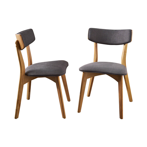 Abilene Mid Century Modern Fabric Dining Chairs (Set Of 2) | Color: Gray, Color: Dark Gray and Natural Oak