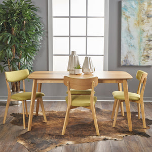 Alistair Mid Century 5 Piece Dining Set | Color: Green, Color: Green Tea, Natural Oak