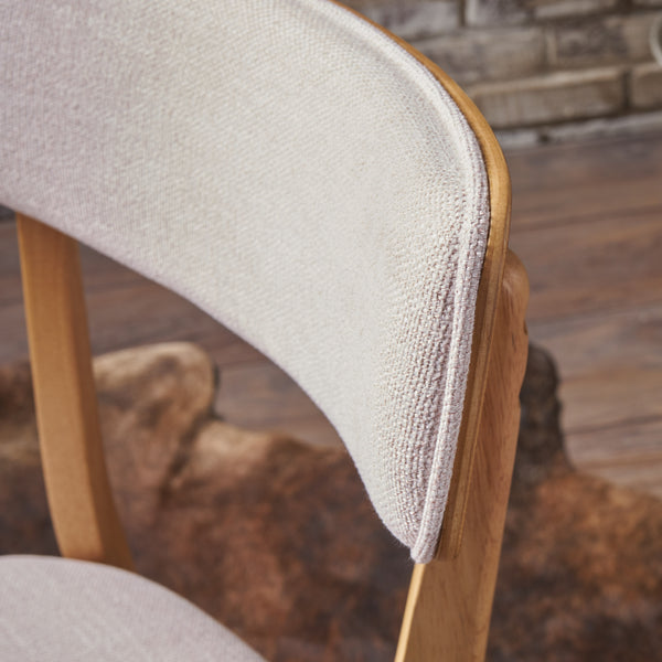 Abilene Mid Century Modern Fabric Dining Chairs (Set Of 2) | Color: Brown, Color: Light Beige and Natural Oak