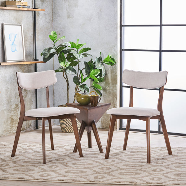 Abilene Mid Century Modern Fabric Dining Chairs (Set Of 2) | Color: Gray, Color: Light Beige and Natural Walnut