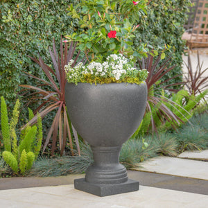 Shelby Outdoor Stone Finished Cast Stone Urn